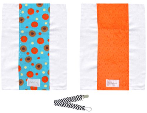 Baby Laundry 92125 Orange Orbit 2-Pack Soft Minky Burp Cloths With Pacifier Clip front-170061