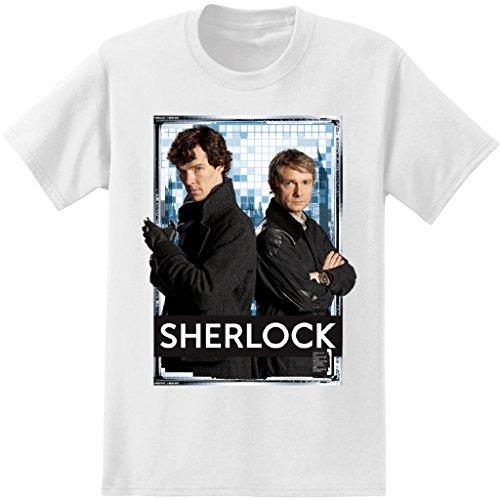 Sherlock Men's and Watson T-Shirt, White, XX-Large