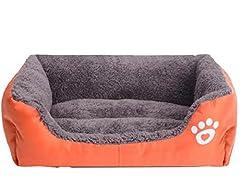 【SCGEHA】洗える ペット用 ベッド 簡易 撥水 加工 犬 猫 秋 冬 小型犬 中型犬 カラフル 4カラー 3サイズ ふわふわ もこもこ あったか ワンちゃんネコちゃん大喜び♪(M/オレンジ)