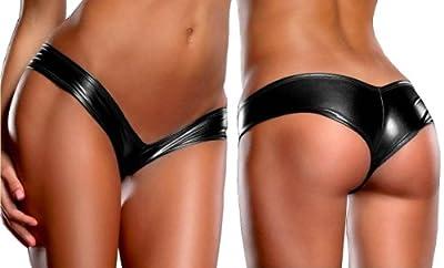 Talsohle Preis neue auswahl neuartiger Stil Damen Wetlook Slip Panty Lack Leder Look Schwarz C-String Tanga Dessous  Gogo Größe S/M by Online-Star