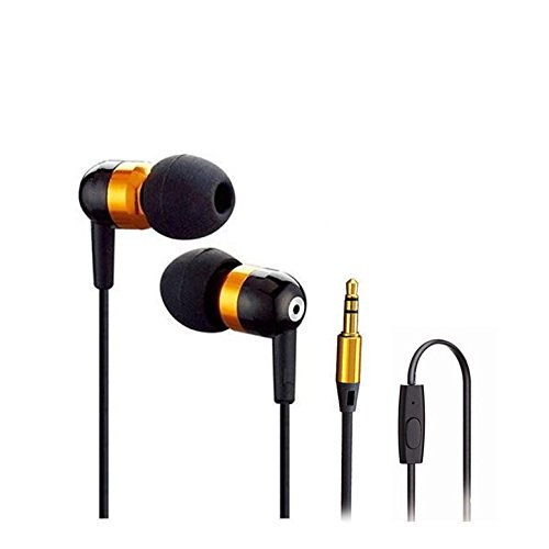 Mga8 Gold In-Ear Headset With In-Line Microphone 3.5Mm In-Ear Stereo Headset W/ On-Off & Mic For Lg Lucid 4G Vs840 / Optimus Exceed (Verizon)