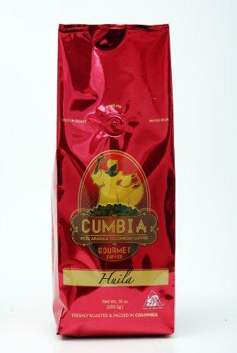 Cumbia Huila Coffee 100% Single Origin Colombian Gourmet Whole Bean Coffee, 10-Ounce Bag