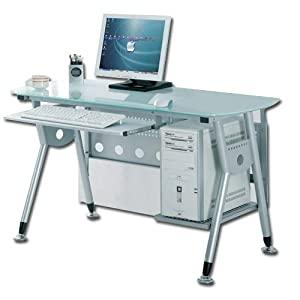 Scrivania vetro metallo ufficio camera casa e for Scrivania ufficio vetro