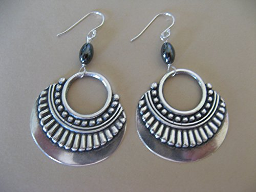 mixed-metals-ornamental-hoops-sterling-silver-earrings-with-hematite-gemstones-boho-jewelry-artisan