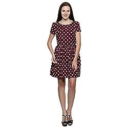 PRAKUM Women's Chiffon Regular Fit Dress Maroon (XXX-Large)