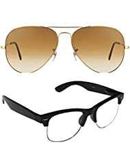 Unisex Uv Protected Combo Pack Of Aviator Sunglasses And Clear HF Wayfarer Sunglasses ( Golden Shd Brown - Clear...