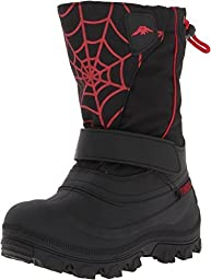 Tundra Boots Kids Boy\'s Quebec Wide (Toddler/Little Kid/Big Kid) Black/Red/Web Boot 3 Little Kid W