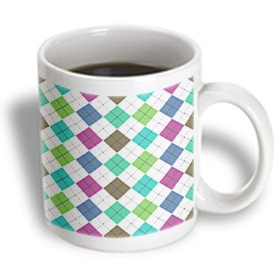 Dooni Designs Random Patterns - Green Turquoise Teal Brown Plum Boho Chic Preppy Argyle Pattern On White - 11Oz Mug (Mug_113414_1)