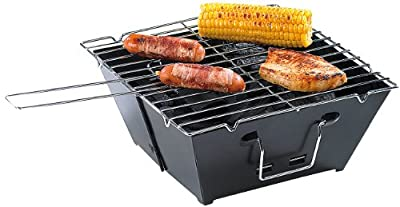 PEARL Camping-Grillset: Faltbarer Klappgrill und Mini-Campingleuchte