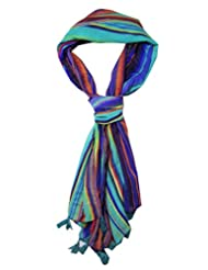 Multi-Colour Stripes Design Stole With Fringes For Girls By S.Lover