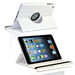 Leather 360 Degree Rotating Smart Stand Case Cover For New iPad 4 iPad 3 iPad 2- White