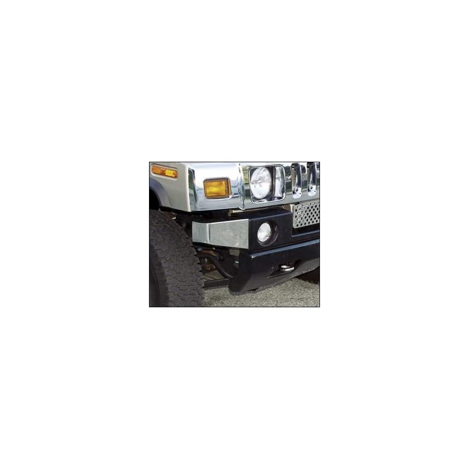 Hummer H2 Stainless Steel Front Bumper Replacement Chrome Corners (Fits 2003 2009 SUV/SUT)