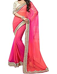 Women's Latest Designer Printed Georgette Saree With Blouse Piece By Maahi Fashion (pink)