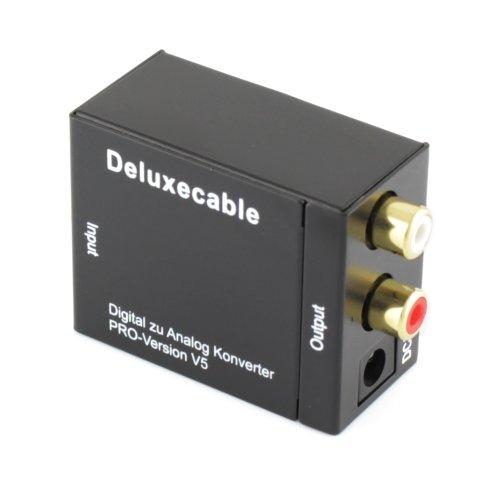 deluxecable digital toslink spdif analogico stereo audio converter 2xrca digital audio. Black Bedroom Furniture Sets. Home Design Ideas
