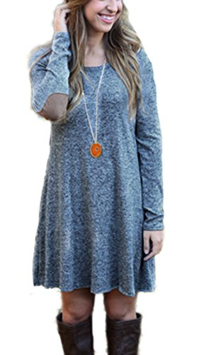 Summer-Mae-Women-long-Sleeve-Loose-Clothing-Elbow-Patch-Casual-Dress-Heather-Grey