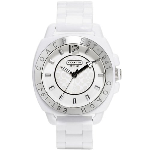 Coach Women's White Plastic Boyfriend Watch 14501347