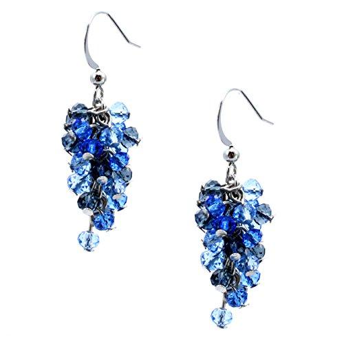 C.A.K.E. By Ali Khan Earrings, Silver-Tone Mini Cascade Blue Bead Drop Earrings