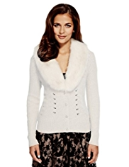 Per Una Faux Fur Trim Cardigan with Angora