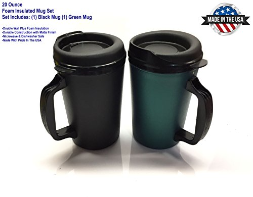 20 oz ThermoServ Foam Insulated Coffee Mug Black/Green Two Pack (Coffee Mug For Microwave compare prices)
