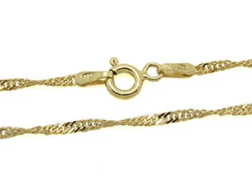 Amberta® Gioielli - Collanina - Catenina Argento Sterling 925 - Placcato Oro - Modello Singapore - Larghezza 1,3 mm - Lunghezza: 36 40 45 50 55 60 70 (cm)