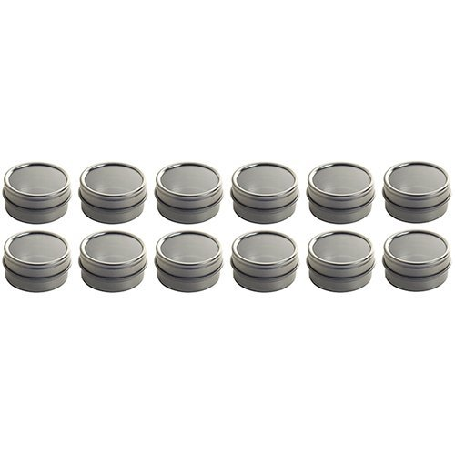 Silver Metal Steel Tin Flat Container with Tight Sealed Clear Lid - .25 oz (12 Pack) (Metal Container With Lid compare prices)