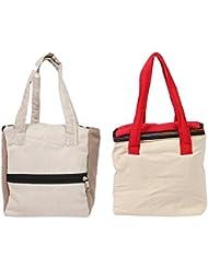 VS Exporrts Cotton 6 Liters Multi-Color Lunch Bag (Combo Of 2) - B01HZ1SQKC