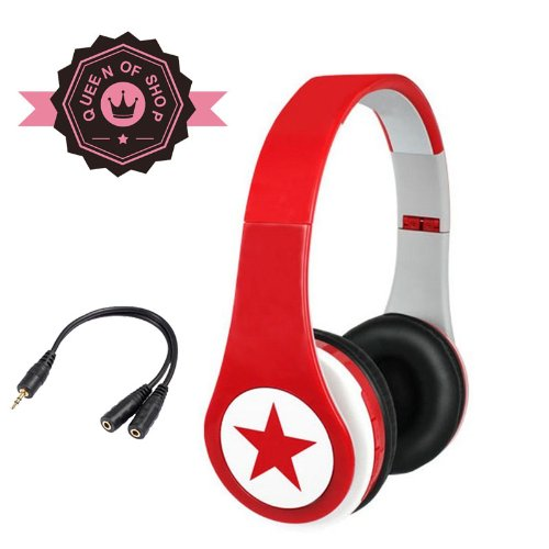 Mj8800 Red Big Star 40Mm Speaker Analog Tuning Folding Am/Fm Sport Radio Headset Wireless Earphones Headphones Music Mp3 Player Tf Card