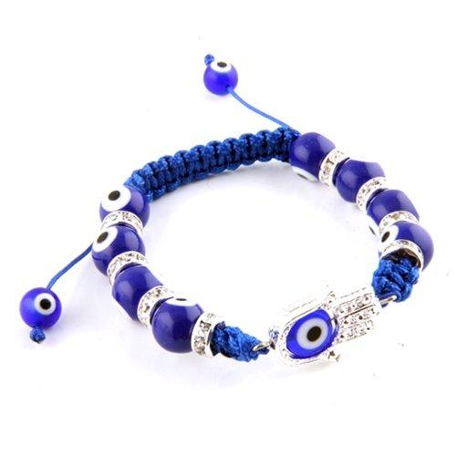 Blue Glass Evil Eye Adjustable Bracelet with Hamsa Hand
