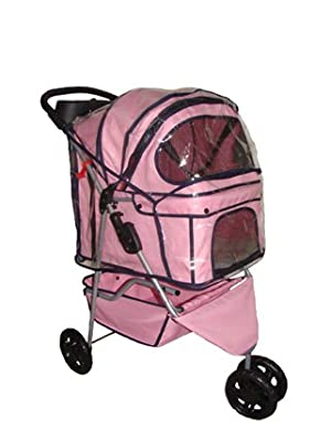 New BestPet Pink 3 Wheels Pet Dog Cat Stroller w/RainCover