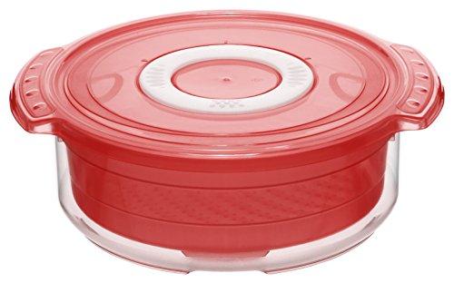 1737490000 Mikrowellen-Dampfgarer rund, gesundes und zeitsparendes Kochen, BPA-frei, Inhalt 1,4 l, circa 23 x 20 x 7,5 cm (LxBxH), rot/transparent