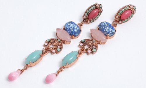 Flow' Collection 24K Rose Gold Plated Fabulous Earrings by Amaro Jewelry Studio Set with Amazonite, Blue Lace Agate, Pink Mussel Shell, Pearl, Rose Quartz, Variscite and Swarovski Crystals