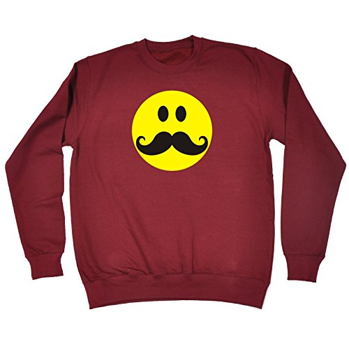 123t Slogans Men's Women's SMILEY FACE MOUSTACHE DESIGN - SWEATSHIRT