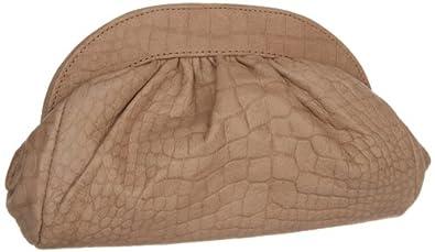 Lauren Merkin Vivi VV7 Clutch,Taupe Shimmer Crocodile,One Size