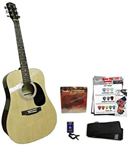 fender starcaster acoustic natural guitar kit musical instruments. Black Bedroom Furniture Sets. Home Design Ideas