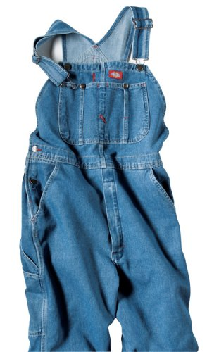 Men's Denim Stone Washed Bib Overalls