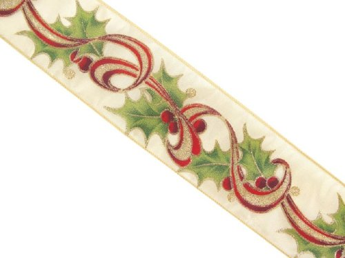 "Victorian Inspirations Christmas Holly Berry Wired Ribbon 2.5"" x 60 Yards"