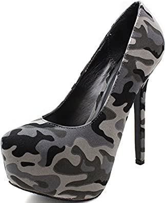 Breckelles Marisa-24 Platform Pumps-Shoes,9 B(M) US,Grey Camouflage-21