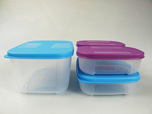 TUPPERWARE Kühlschrank-Systemdose 700 + 300 + 140 ml blau lila Frische-System (4)