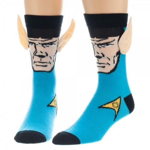 Star Trek Mr. Spock Blue Crew Socks With Ears Costume Socks
