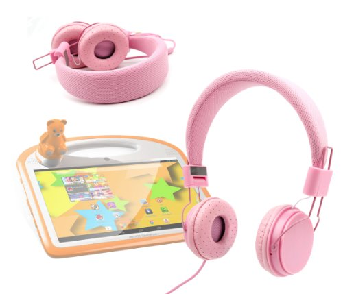 DURAGADGET Pink Fashionable Kids Headphones With Button Remote For Archos Arnova FamilyPad / Arnova ChildPad / ChildPad 2 / 101 ChildPad / 80 ChildPad