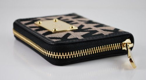 MICHAEL KORS MK Signature Jacquard Bifold Zip-Around Wallet BLACK/BEIGE