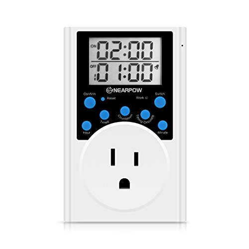 Timer Switch Outlet, Nearpow Multifunctional Infinite Loop Programmable Plug-in Digital Timer Switch With 3-prong Outlet for Appliances, Energy-saving Timer, 15A/1800W (1 Pack) (Timer Outlet Switch compare prices)