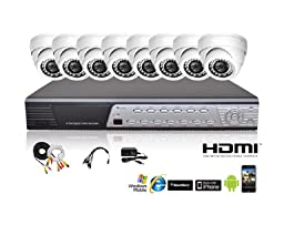 iPower Security SCCMBO0008-1T 8 Channel 1TB HDD Full D1 DVR Security Surveillance System with 8 850TVL Cameras