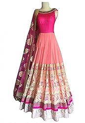 Sanjana Collection Women's Lehenga (Pink, Free Size)