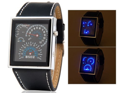 Japanese Movement Racing Car Dashboard Design Square Shaped Led Watch With Faux Leather Strap (Black)