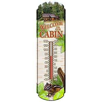 "Reflective Art Welcome To The Cabin Vintage Style Tin Thermometers, 5"" L x 17"" H x 2"" W"