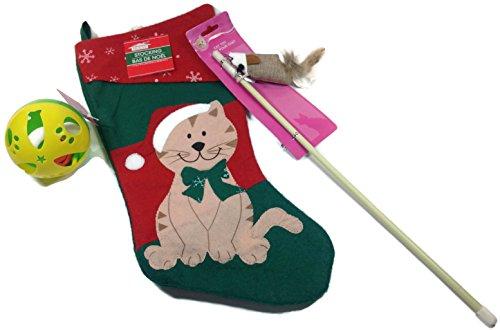 Holiday Pet Christmas Stocking Gift Bundle: 3 Items - 1 Adorable Kitty Stocking, 1 jingle ball cat toy and 1 cat fishing wand