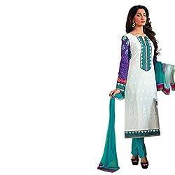 Paridhan Women'S White Cotton Embroiderd Suit 14707B