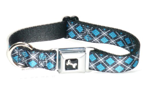 Buckle Down Argyle Blk Gry Turq Seat Belt Buckle Dog Collar 1 x 9 ...
