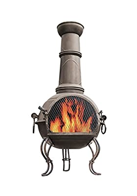 La Hacienda 56903 107cm Large Murcia Steel Chiminea With Grill - Bronze from La Hacienda